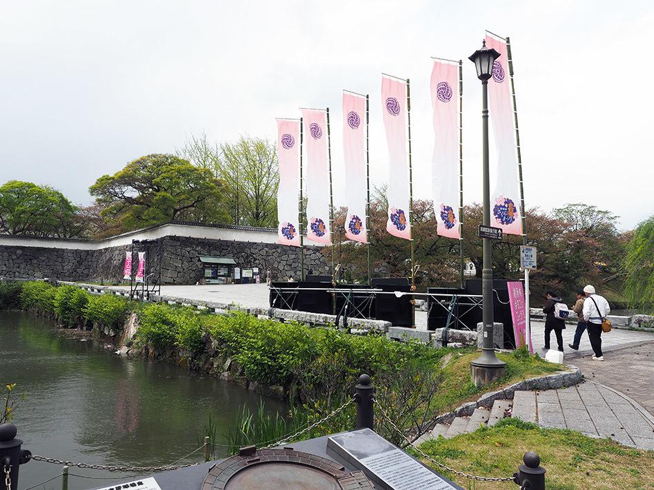 ミッションデイのオープニングイベントやアフターパーティーが行われたのは、福岡城跡地の舞鶴公園