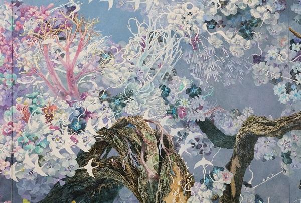 《誕生》 (部分) 2013-2016 / 紙にペン、インク、透明水彩 / 300 × 400 cm 佐賀県立美術館蔵 Photography by MIYAJIMA Kei ©IKEDA Manabu, Courtesy Mizuma Art Gallery, Tokyo / Singapore