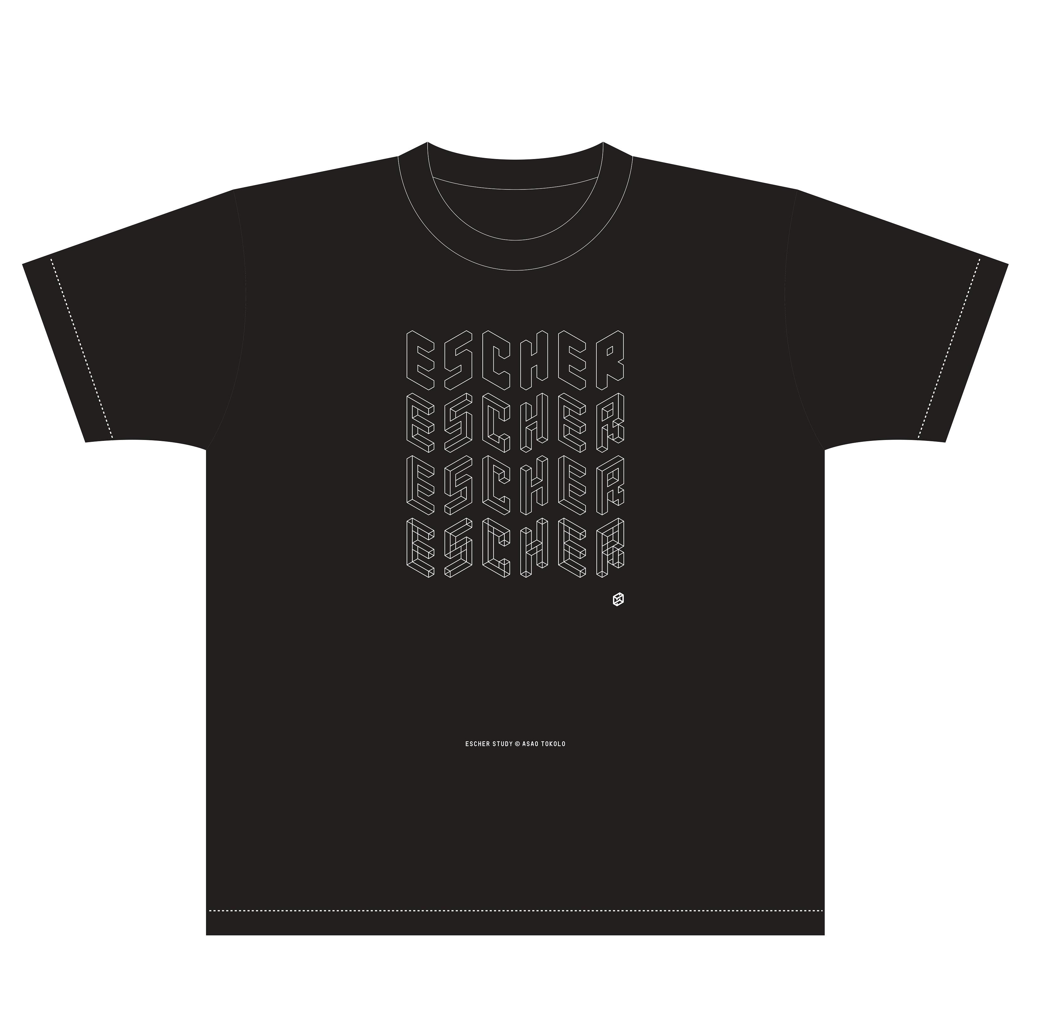 escher×野老朝雄 Tシャツ(黒・紺 150,S,M,L,XL) 各 3,200 円(税込)