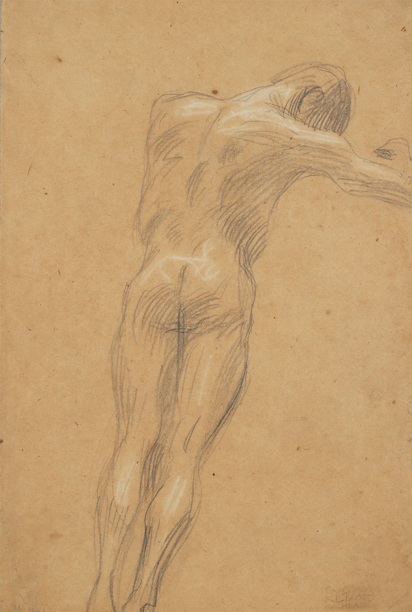 グスタフ・クリムト《右向きの浮遊する男性裸像》(ウィーン大学大広間天井画《哲学》のための習作)1897-99年 京都国立近代美術館