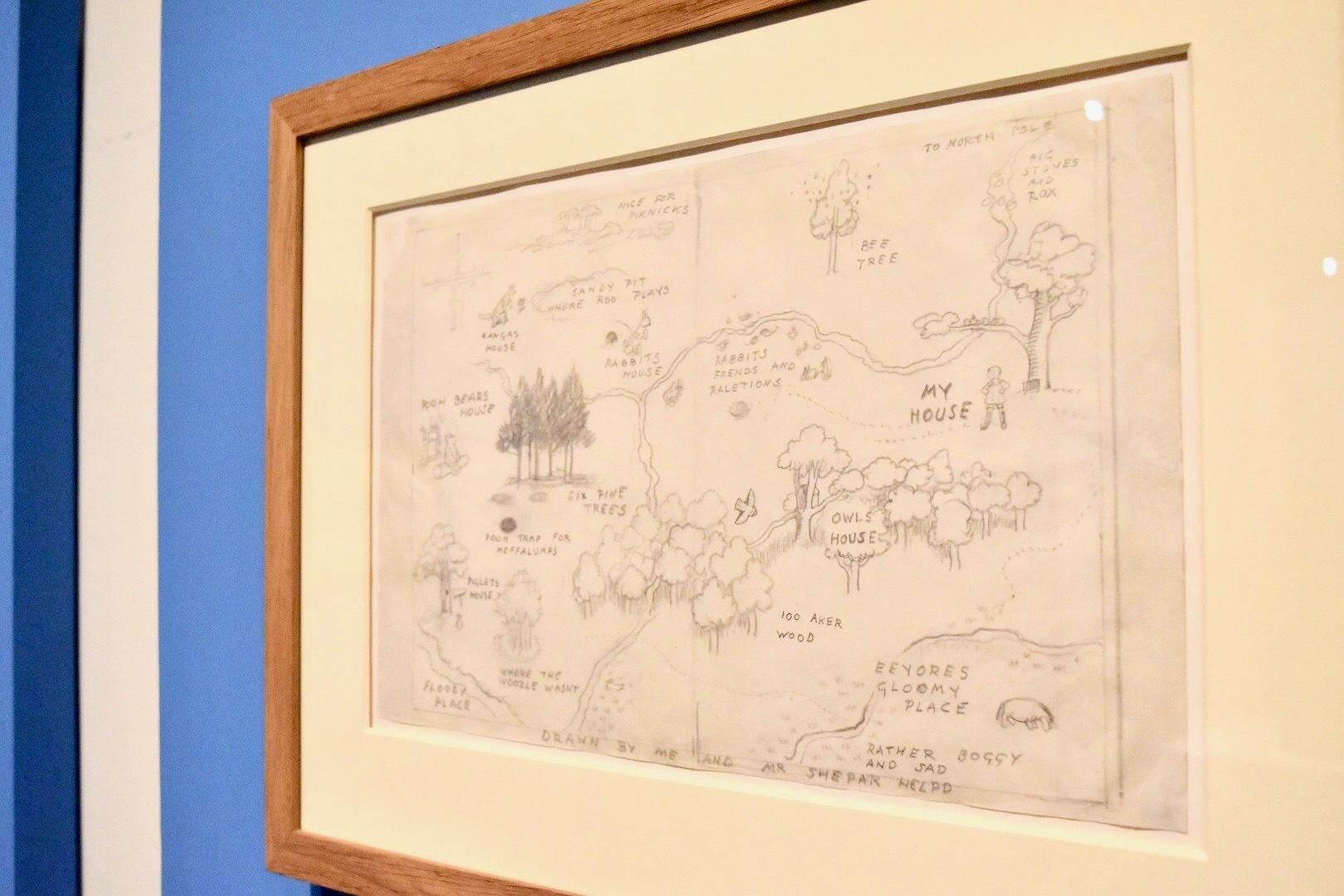 E.H.シェパード 百ちょ森(百町森)の地図『クマのプーさん』見返し 1926年 ヴィクトリア・アンド・アルバート博物館所蔵