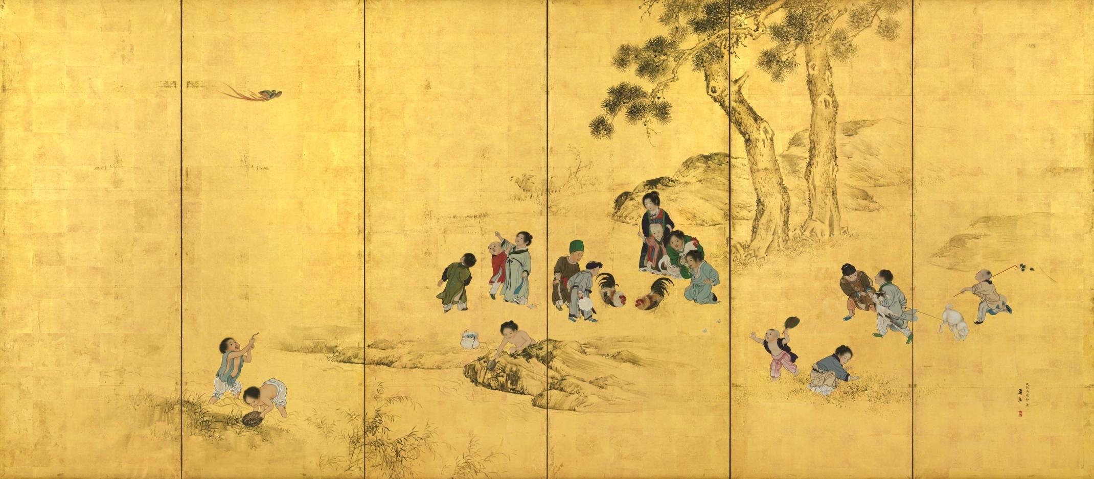 横山華山《唐子図屛風》右隻 文政9(1826)年 個人蔵