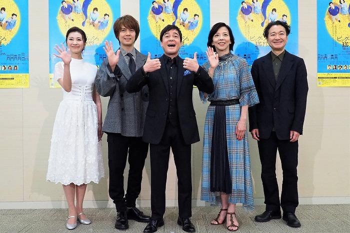 (左から)夢咲ねね、浦井健治、川平慈英、霧矢大夢、白井晃