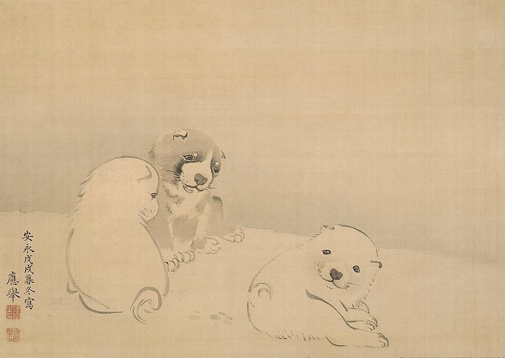 「狗子図」 円山応挙 安永7年(1778) 敦賀市立博物館蔵 東京展:後期展示 京都展:半期展示