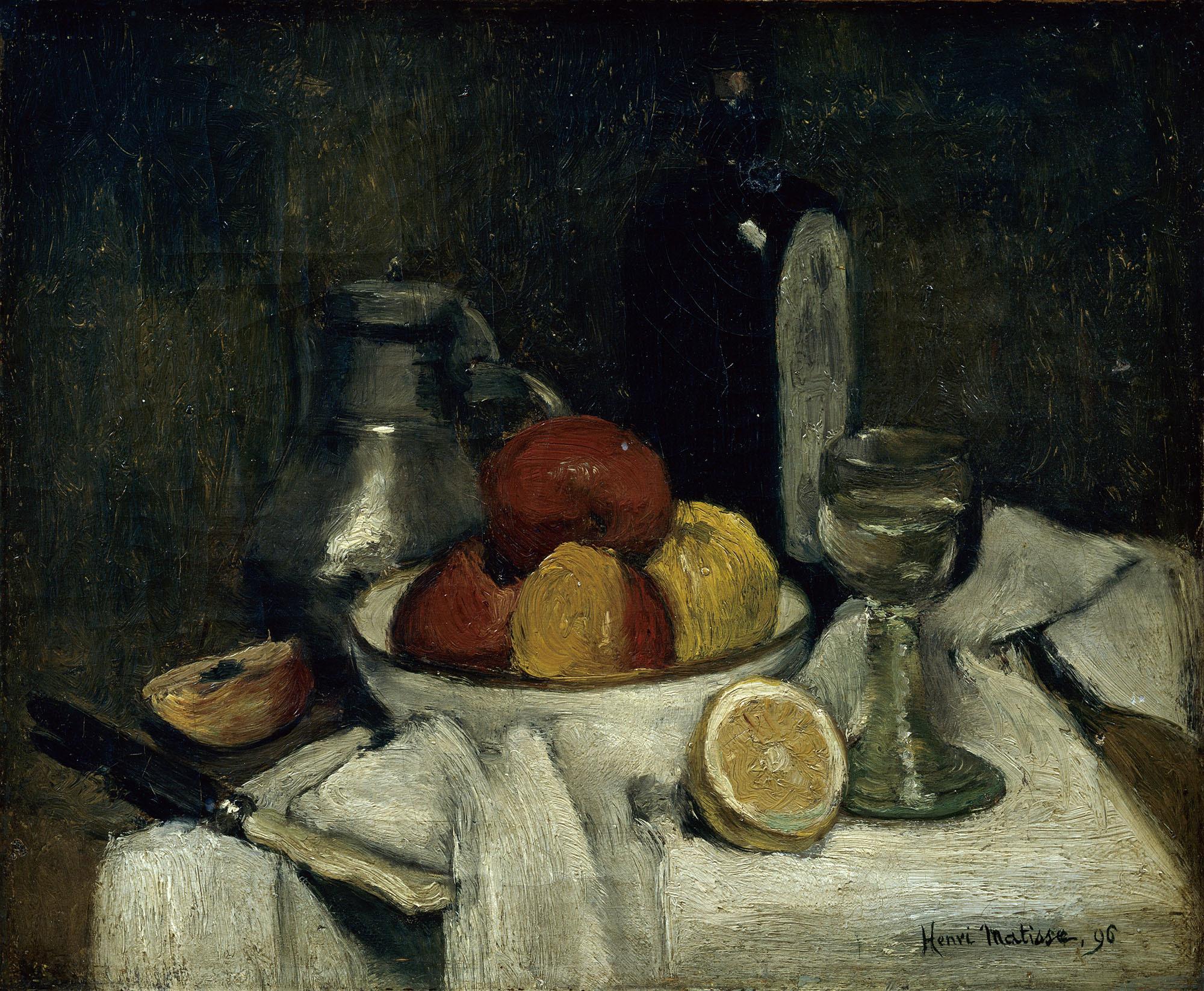 アンリ・マティス《スヒーダムの瓶のある静物》1896年 マティス美術館、ル・カトー=カンブレジ