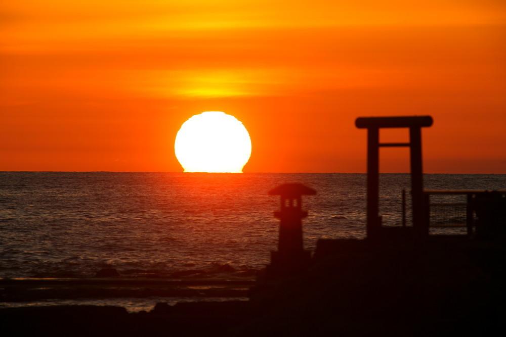 番神海水浴場からの夕日