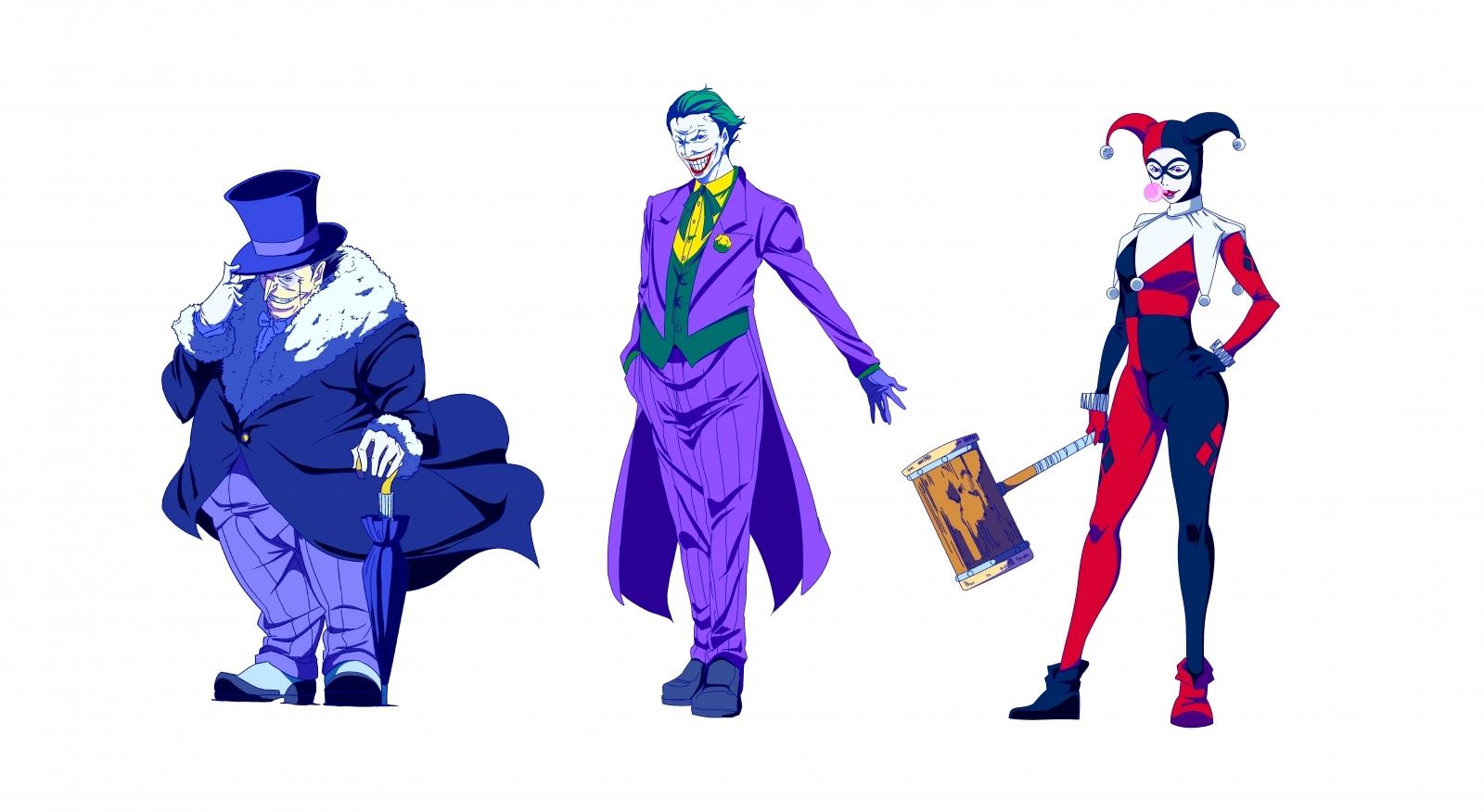 左から、ペンギン、ジョーカー、ハーレイ・クイン
