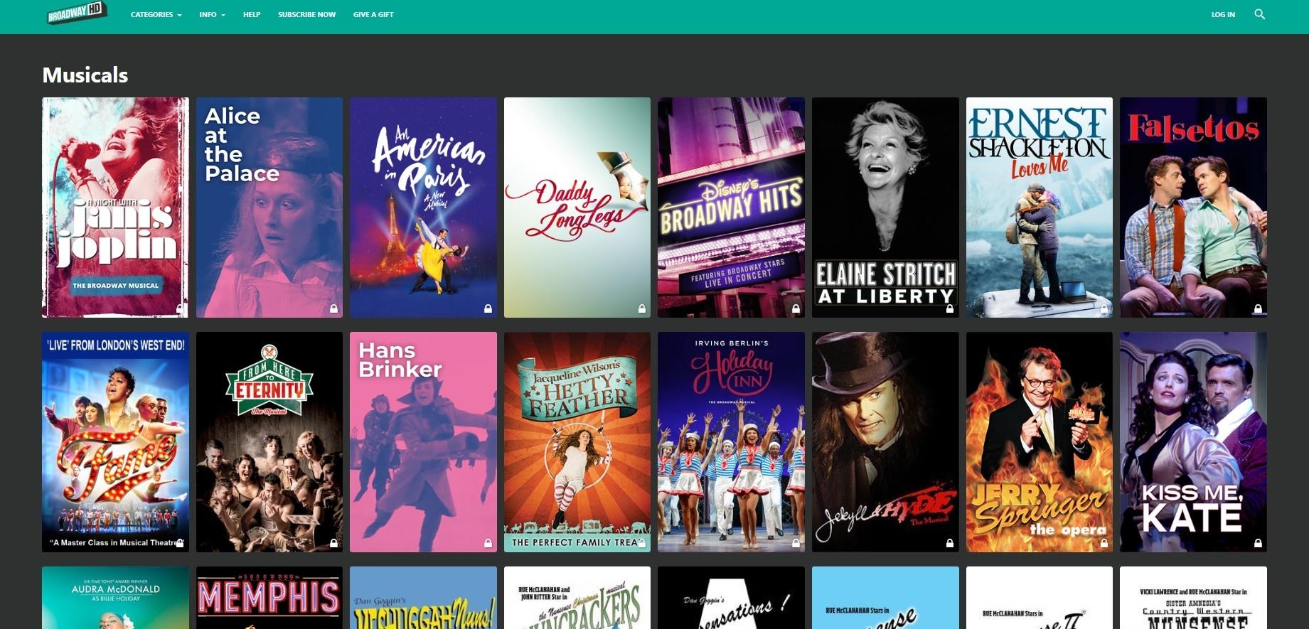Broadway HD内「ミュージカル」ページのスクリーンショット