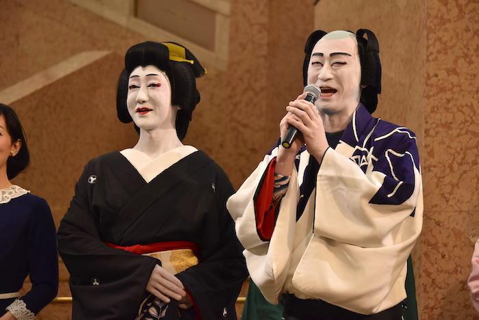河合雪之丞、喜多村緑郎(左から)