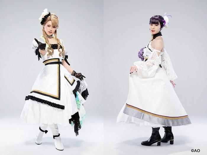 写真左より宮嶋あさひ役・長江崚行、矢地桐久役・大平峻也、(ステージ衣装)