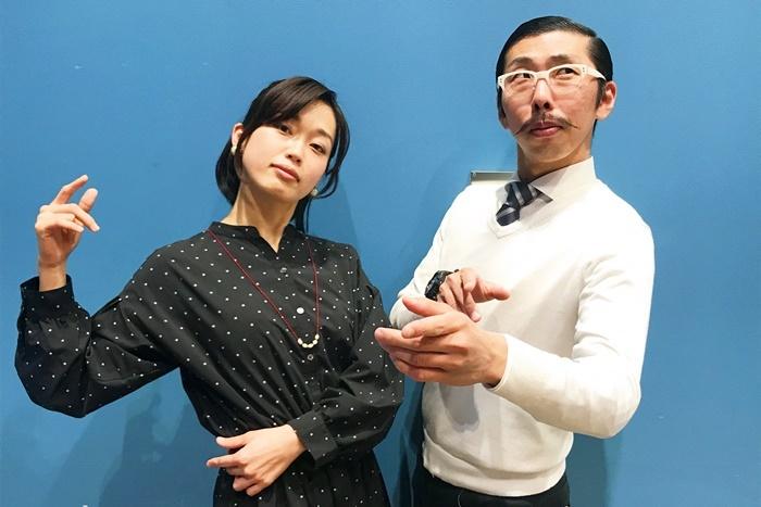 (左から)丹下真寿美(T-works)、村角太洋a.k.a.ボブ・マーサム(THE ROB CARLTON)。 [撮影]吉永美和子(人物すべて)
