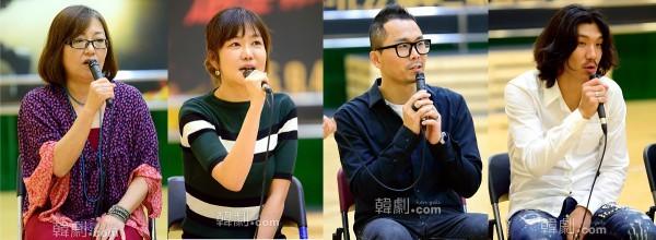 (写真左から)イ・ジナ演出家、ウォン・ミソル音楽監督と、振付家のチェ・ヒョンウォン、キム・ジェドク