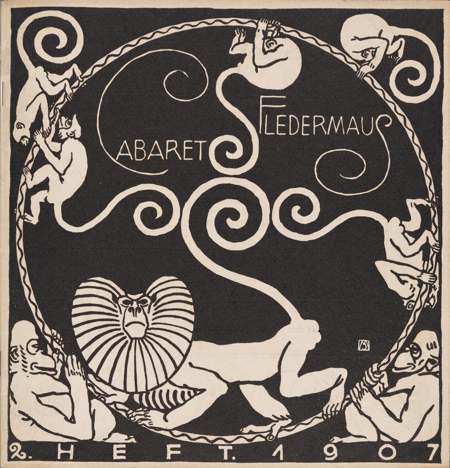 表紙:モーリツ・ユンク、装丁:カール・オットー・チェシュカ『キャバレー〈フレーダーマウス〉上演本』第2号 1907年 京都国立近代美術館