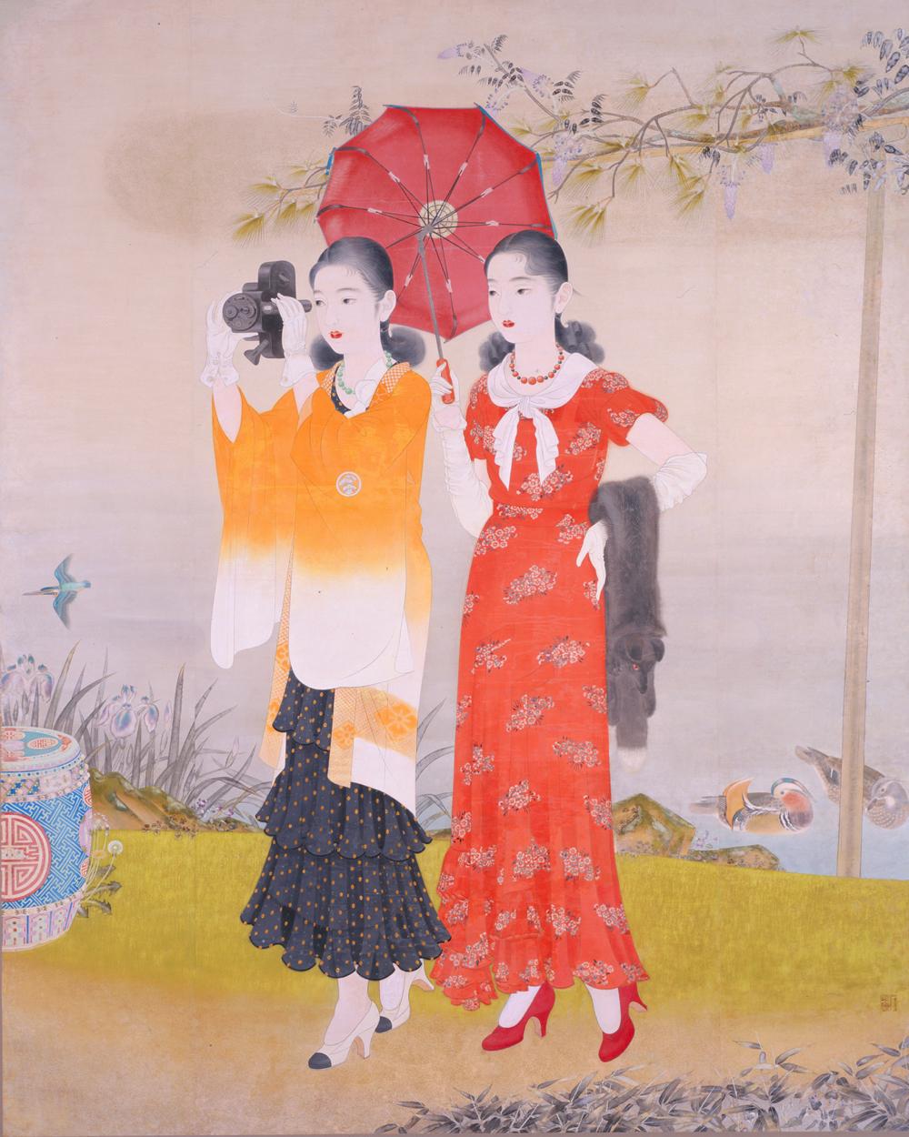 榎本千花俊《池畔春興》1932(昭和7)年 島根県立石見美術館蔵
