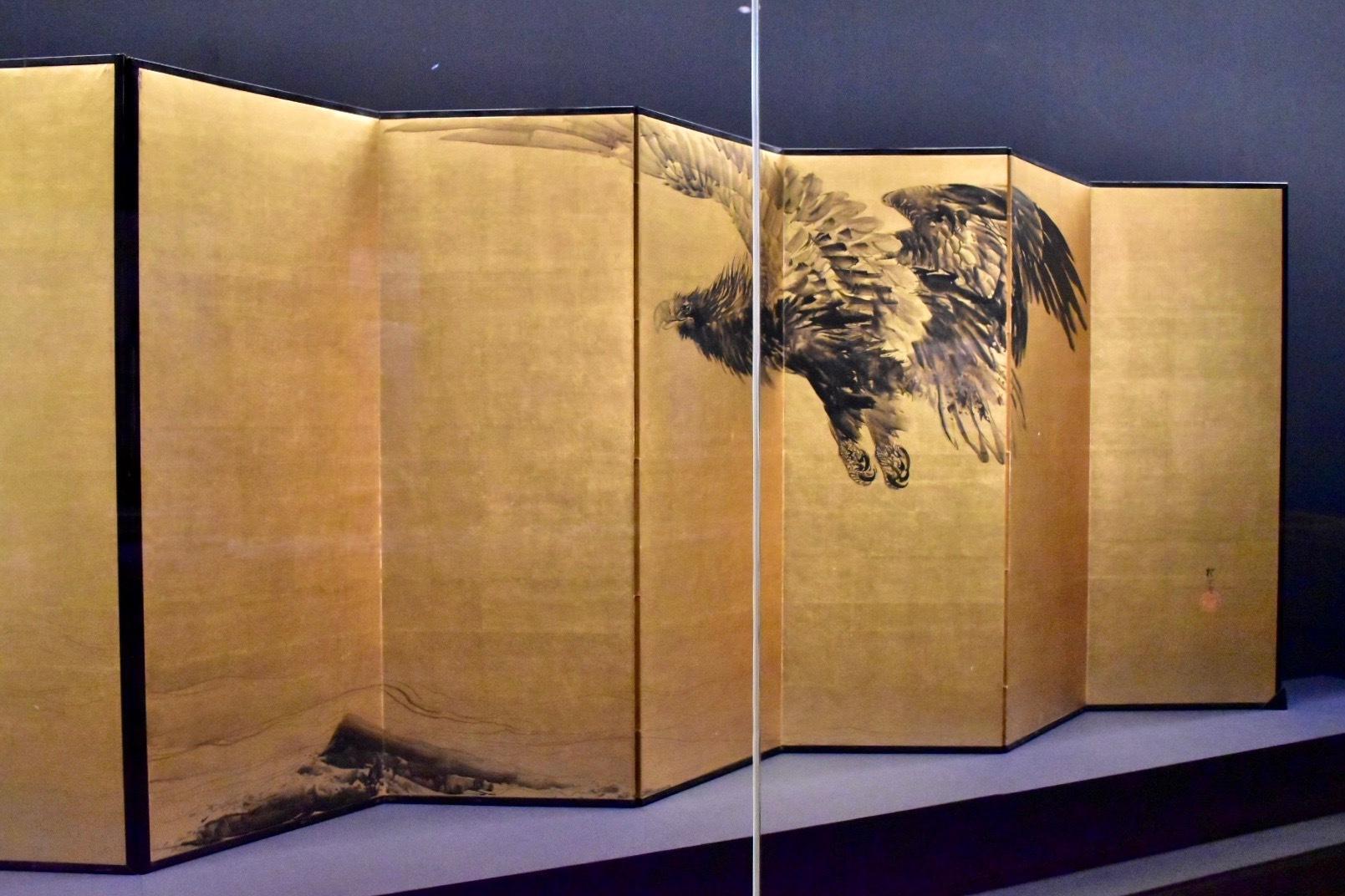 猛鷲波濤図屏風(右隻) 明治36年(1903)