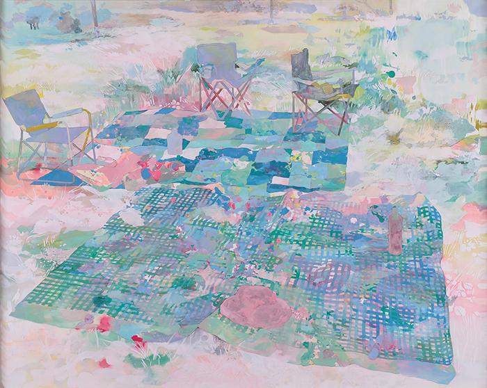 藤原 早苗《ピクニック》日本画 162.1×130.3cm 2020年 上野の森美術館蔵  ※画像写真の無断転載を禁じます