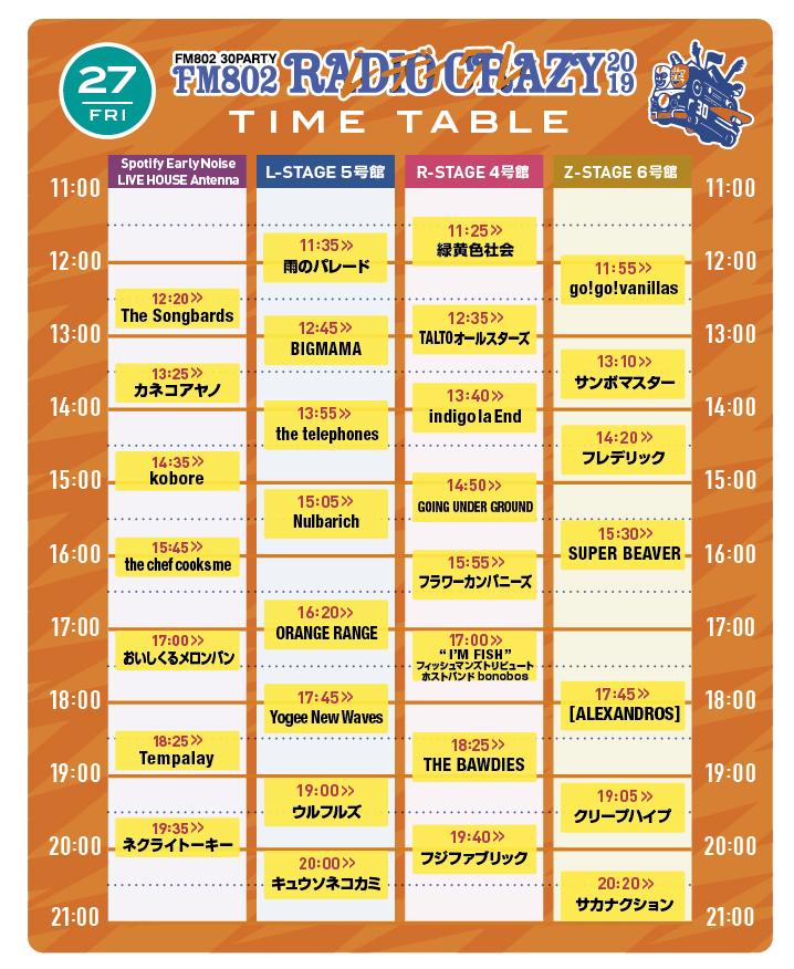『FM802 RADIO CRAZY』27日タイムテーブル
