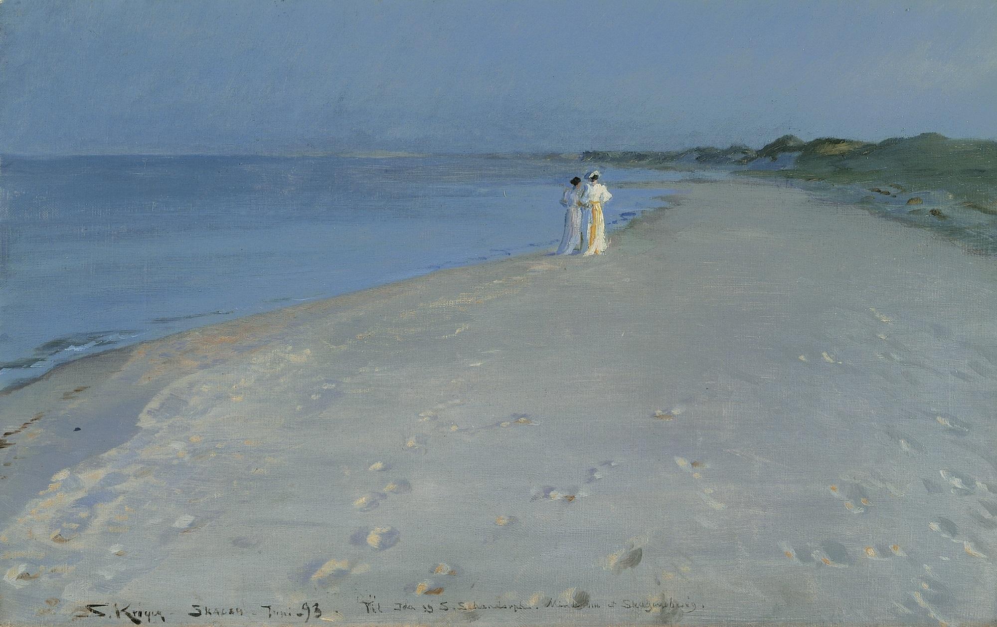 ピーザ・スィヴェリーン・クロイア 《スケーイン南海岸の夏の夕べ-アナ・アンガとマリーイ・クロイア》 1893年 ヒアシュプロング・コレクション蔵 (C)  The Hirschsprung Collection