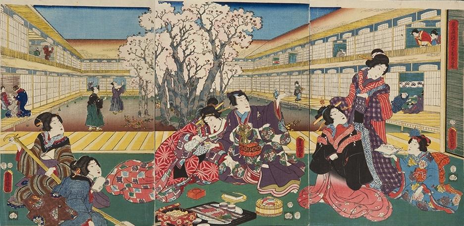 『おいしい浮世絵展』 《見立源氏はなの宴》三代歌川豊国(国貞)、味の素食の文化センター蔵、通期