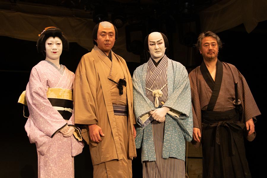 左から、中村壱太郎、荒川良々、中村獅童、赤堀雅秋。『オフシアター歌舞伎 女殺油地獄』ゲネプロ