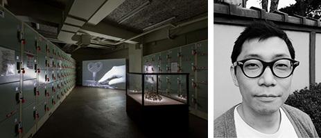 (左)作品さわひらき「Locker room」 2016年 六甲山カンツリーハウス(右)さわひらき氏