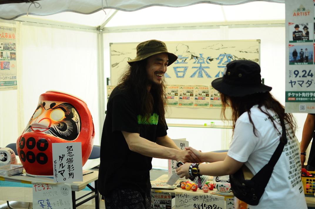 山人音楽祭のブースには主催・G-FREAK FACTORYの茂木さんも登場