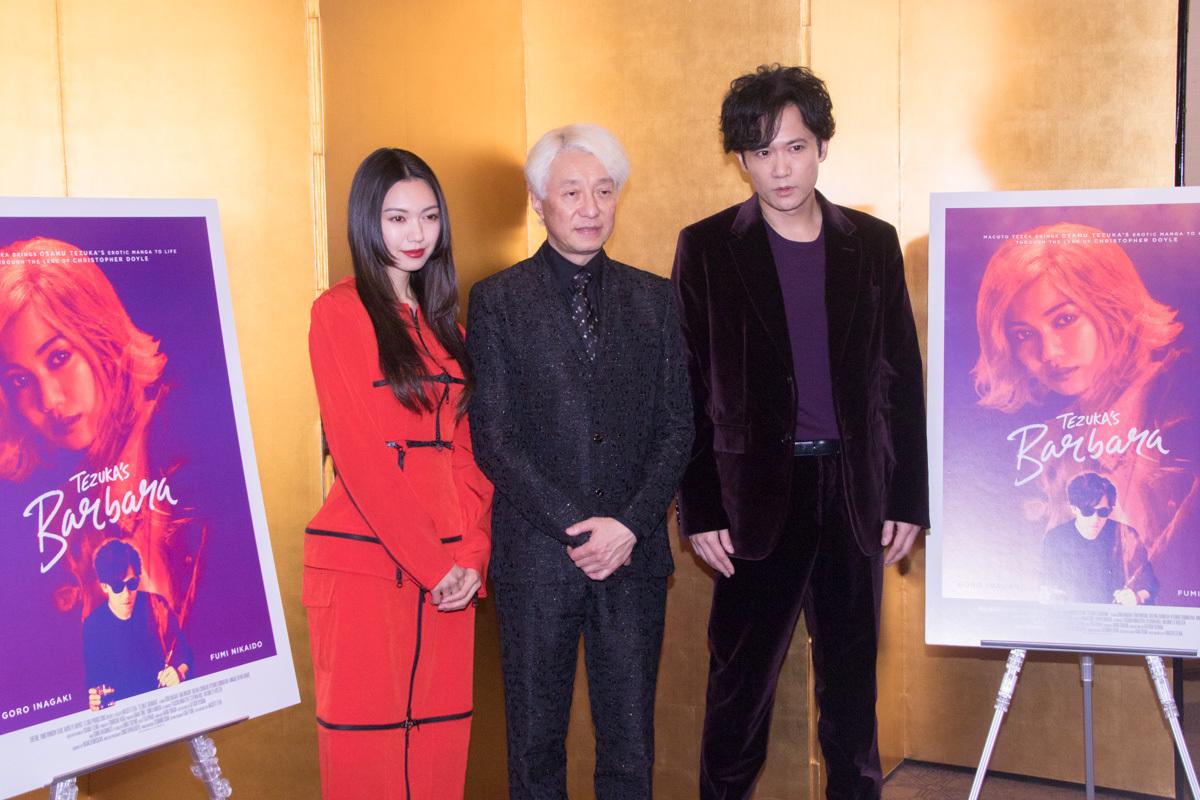 左から、二階堂ふみ、手塚眞監督、稲垣吾郎