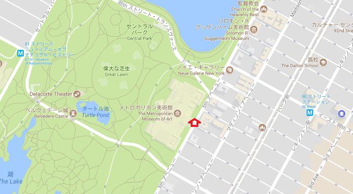 ウォーバックス邸の位置(google mapより)
