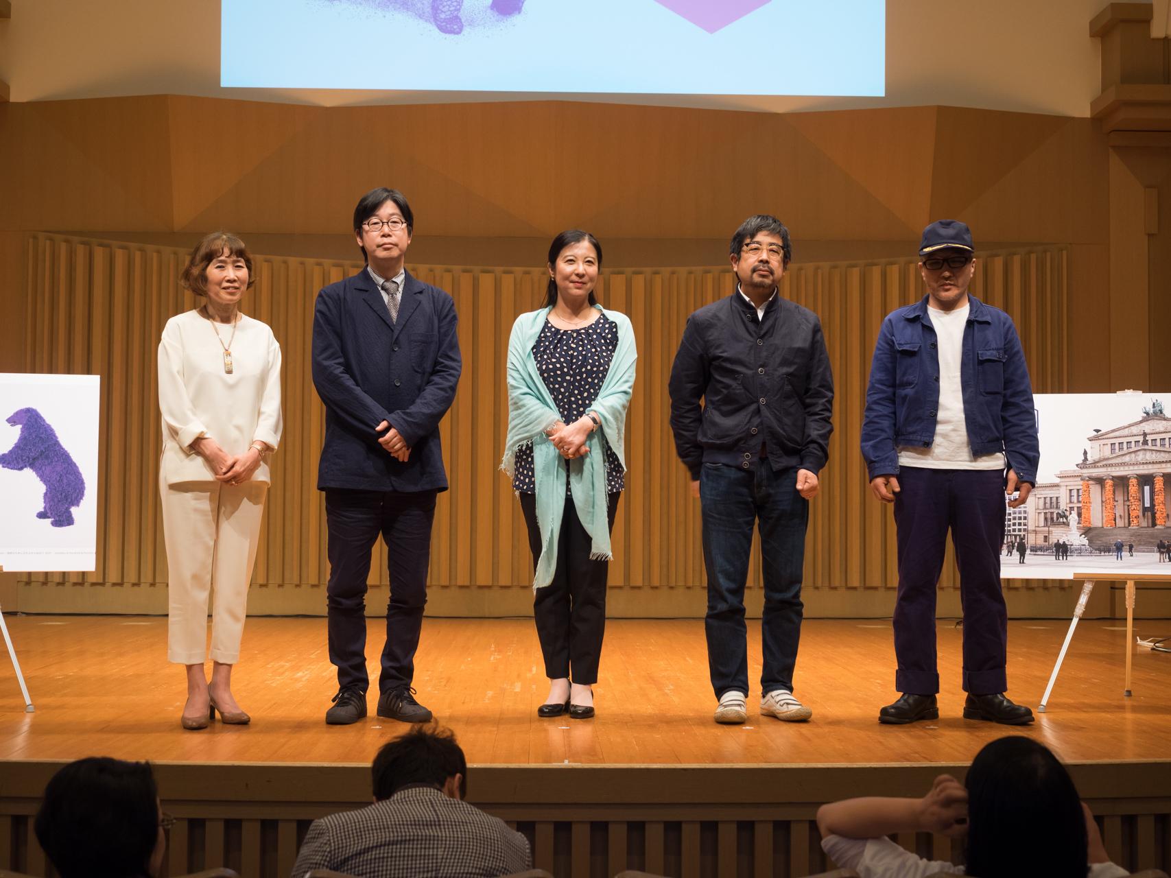 (左から)逢坂恵理子、柏木智雄、三木あき子、小沢剛、宇治野宗輝