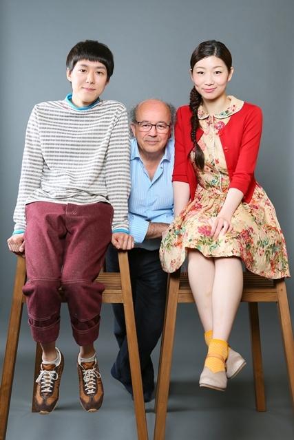 「グレーテルとヘンゼル」宣伝ビジュアル(左から小日向星一、ジェルヴェ・ゴドロ、土居志央梨) 撮影:宮川舞子