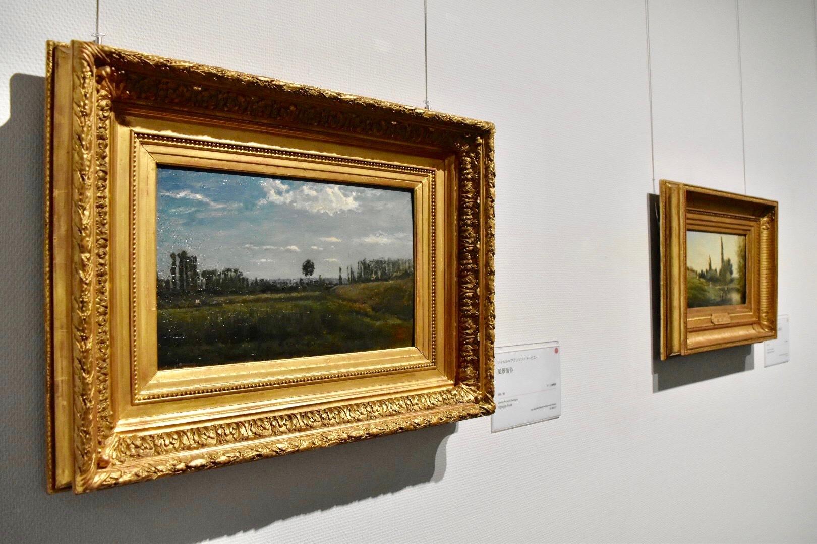 左:シャルル=フランソワ・ドービニー 《風景習作》 ランス美術館蔵