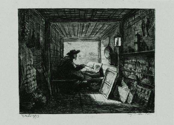 シャルル=フランソワ・ドービニー 《アトリエ船(版画集「船の旅」より)》 1862年 エッチング 10.2×13.5㎝ 個人蔵
