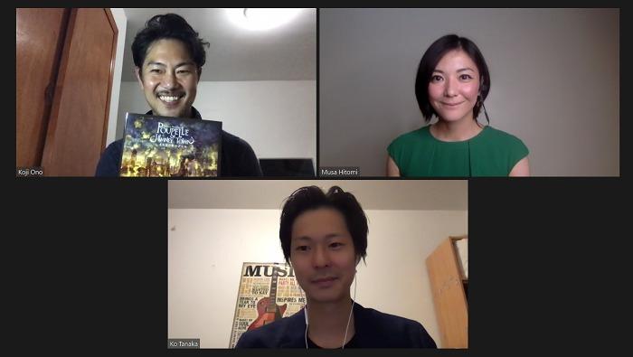 上段左より:小野功司(プロデュース)、撫佐仁美(振付) 下段:Ko Tanaka(作曲)