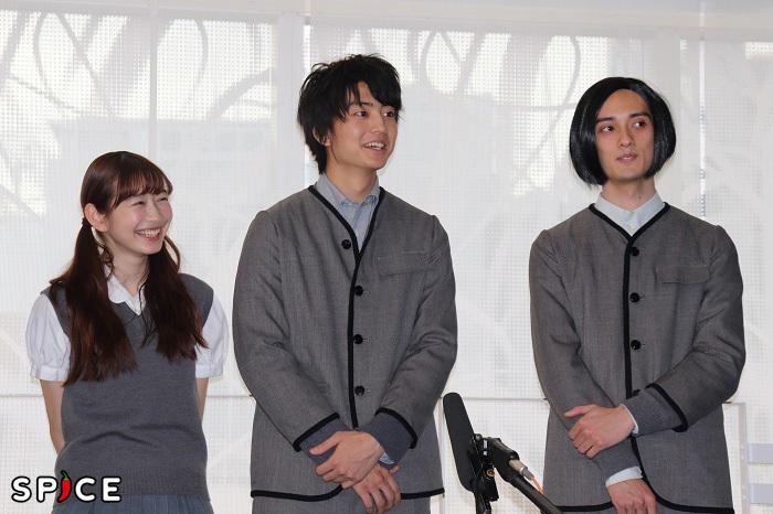 『春のめざめ』囲み取材 写真左から岡本夏美、伊藤健太郎、栗原類