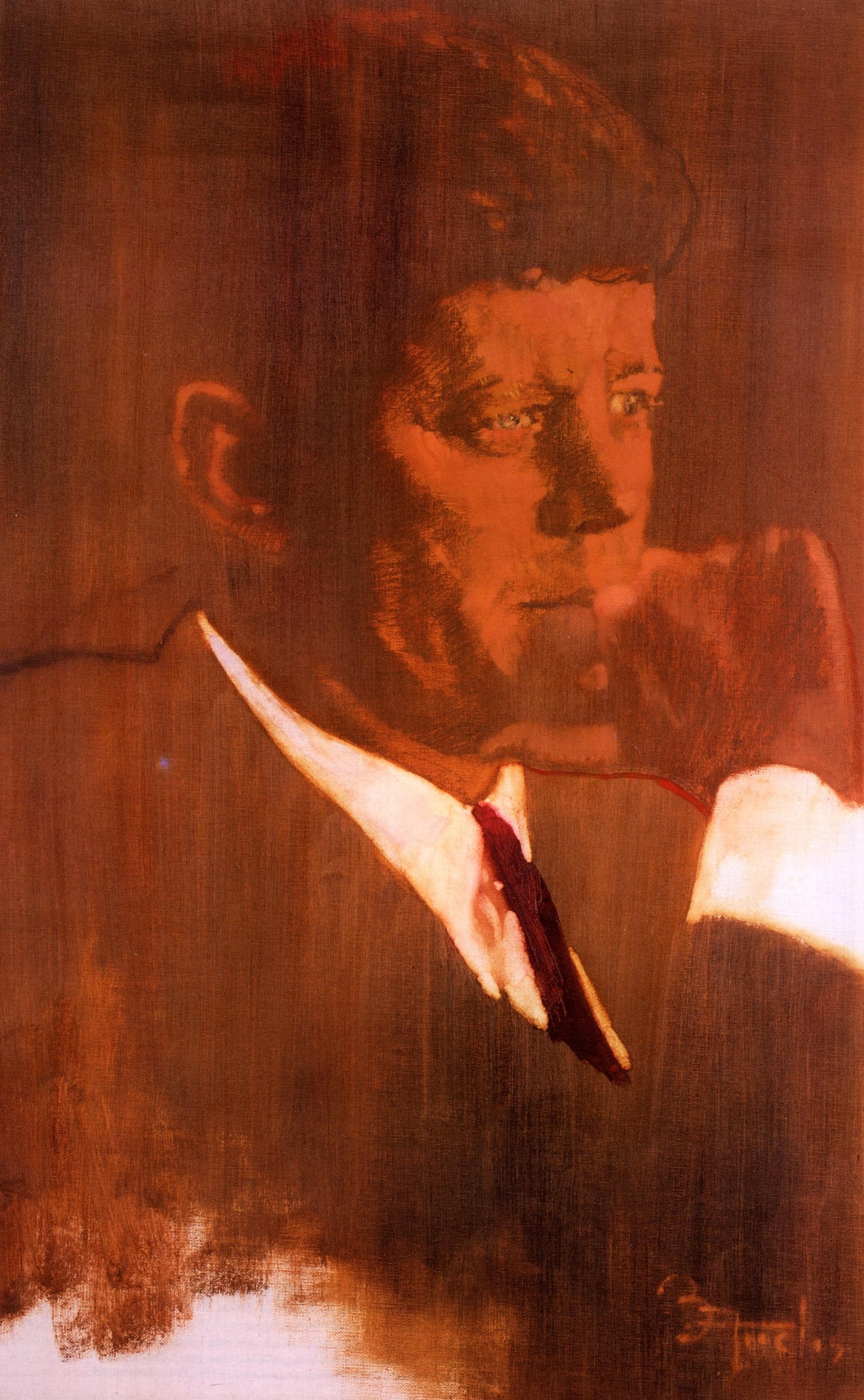 《Portrait of JFK》油彩 キャンバス 70×46cm