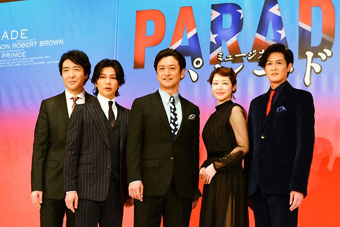 ミュージカル『パレード』製作発表 (左から)石川禅、武田真治、石丸幹二、堀内敬子、新納慎也
