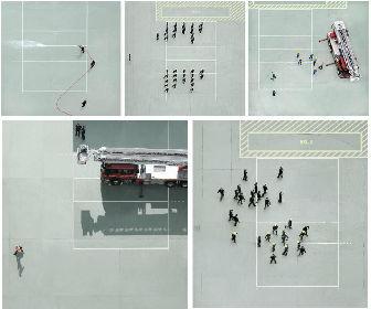 チャン・ディックの美しい鳥瞰写真展『Chai Wan Fire Station』 遥か上空から撮影された、ミニマルな世界