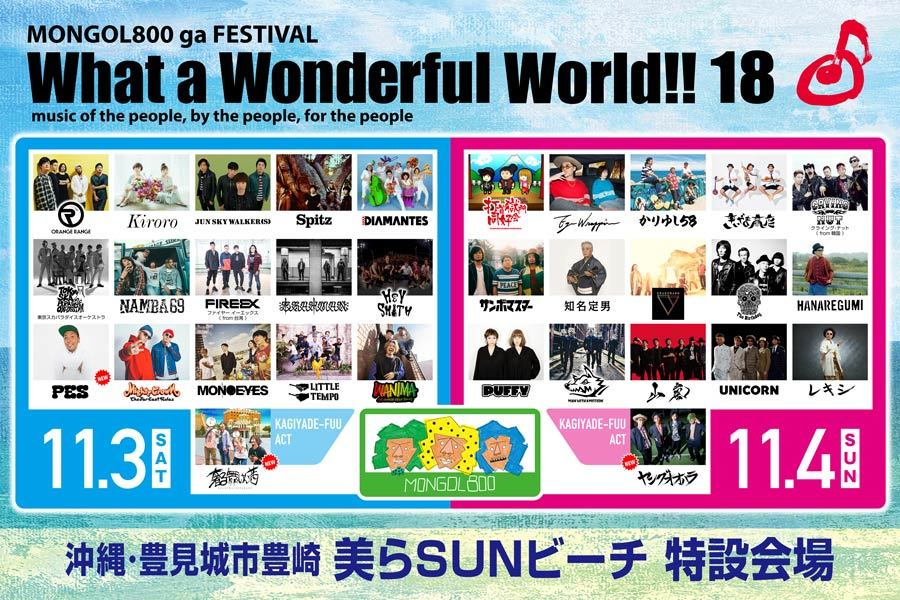 MONGOL800主催フェス『What a Wonderful World!!18』