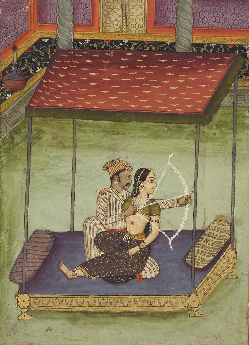 ナーイカを膝に乗せて矢をつがえるナーヤカ ビーカーネール派 インド 18世紀初