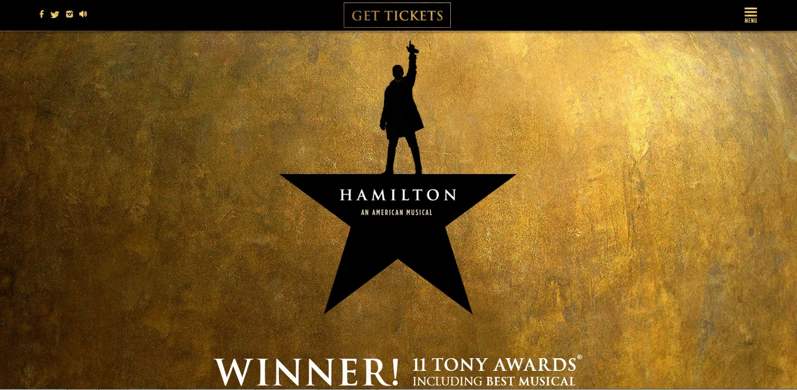 トニー賞受賞のキャッチが加わった『Hamilton』公式サイトのトップページ
