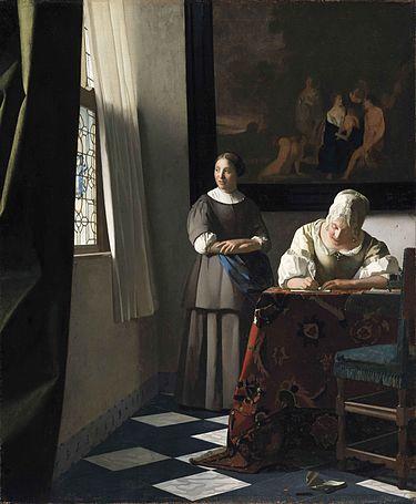 『手紙を書く婦人と召使い』ヨハネス・フェルメール 作 1670年頃 アイルランド国立絵画館 出典=ウィキメディア・コモンズ (Wikimedia Commons)