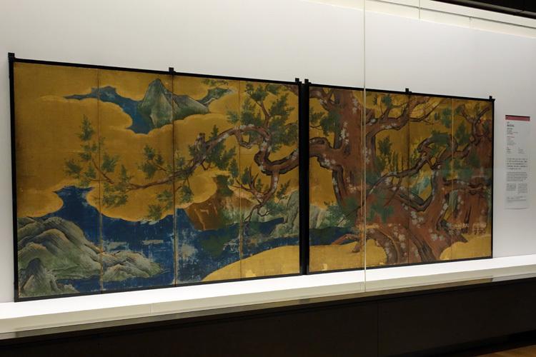 国宝《檜図屛風》狩野永徳筆 安土桃山時代・天正18年(1590) 東京国立博物館(前期展示)