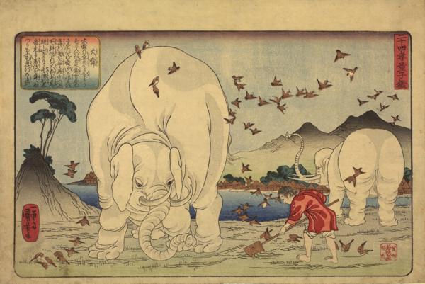 歌川国芳「二十四孝童子鑑 大舜」 天保14-弘化元年(1843-44)頃