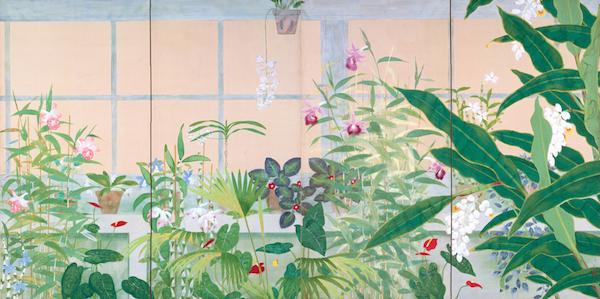 小茂田青樹《薫房》1927年 福島県立美術館蔵 現代にも通用するモダンさで温室内の植物を描いた、日本画家・小茂田青樹晩年の代表作