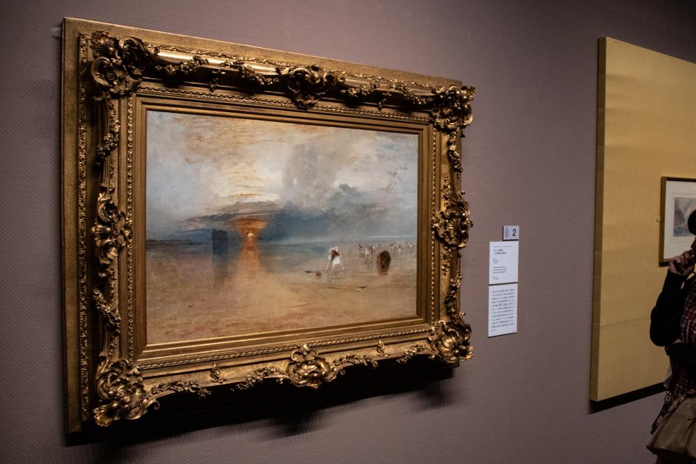 ジョゼフ・マラード・ウィリアム・ターナー《カレの砂浜――引き潮時の餌採り》1830年 油彩、ベリ美術館