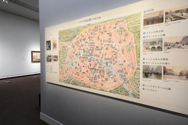 各作品がパリのどこで描かれたのかを地図で解説