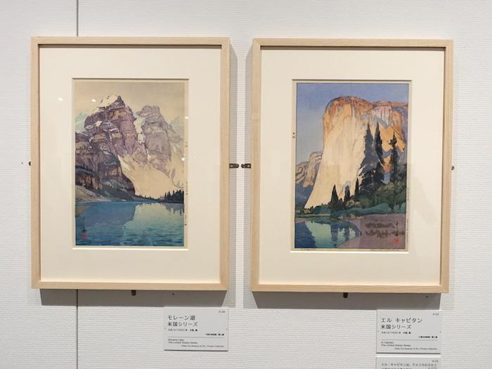 左から《モレーン湖 米国シリーズ》大正14年 千葉市美術館/個人、《エル キャピタン 米国シリーズ》大正14年 千葉市美術館/個人