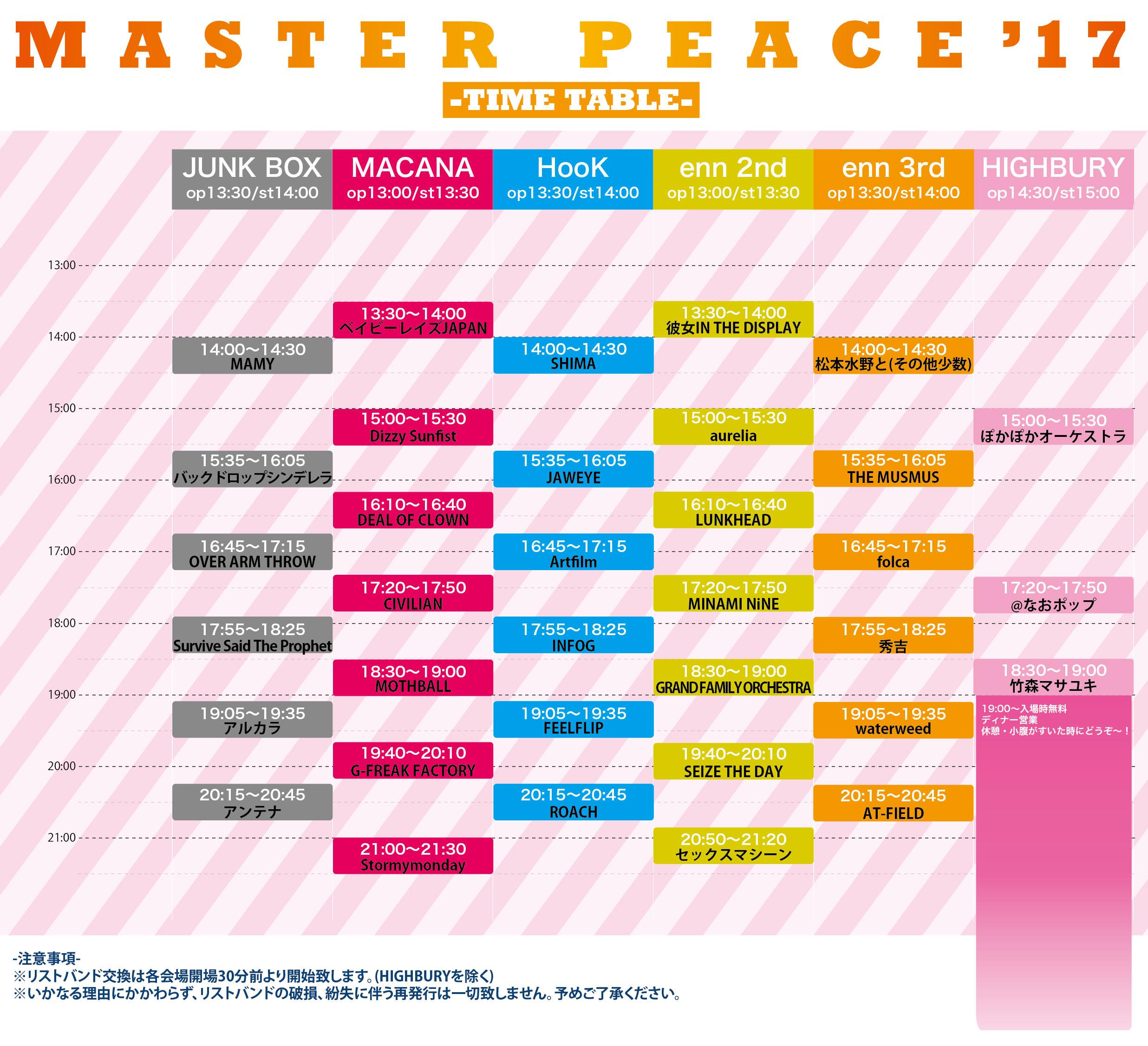 『MASTER PEACE'17』タイムテーブル