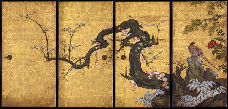 狩野山雪《梅花遊禽図襖絵》寛永8(1631)年 京都・天球院 重要文化財