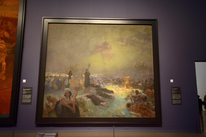 《スラヴ叙事詩「ヴィートコフ山の戦いの後」》 1923年 405×480cm テンペラ、油彩/カンヴァス プラハ市立美術館 ©Prague City Gallery